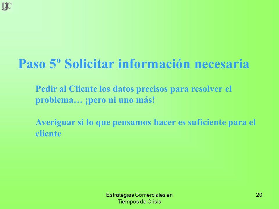 Estrategias Comerciales en Tiempos de Crisis 20 Paso 5º Solicitar información necesaria Pedir al Cliente los datos precisos para resolver el problema… ¡pero ni uno más.