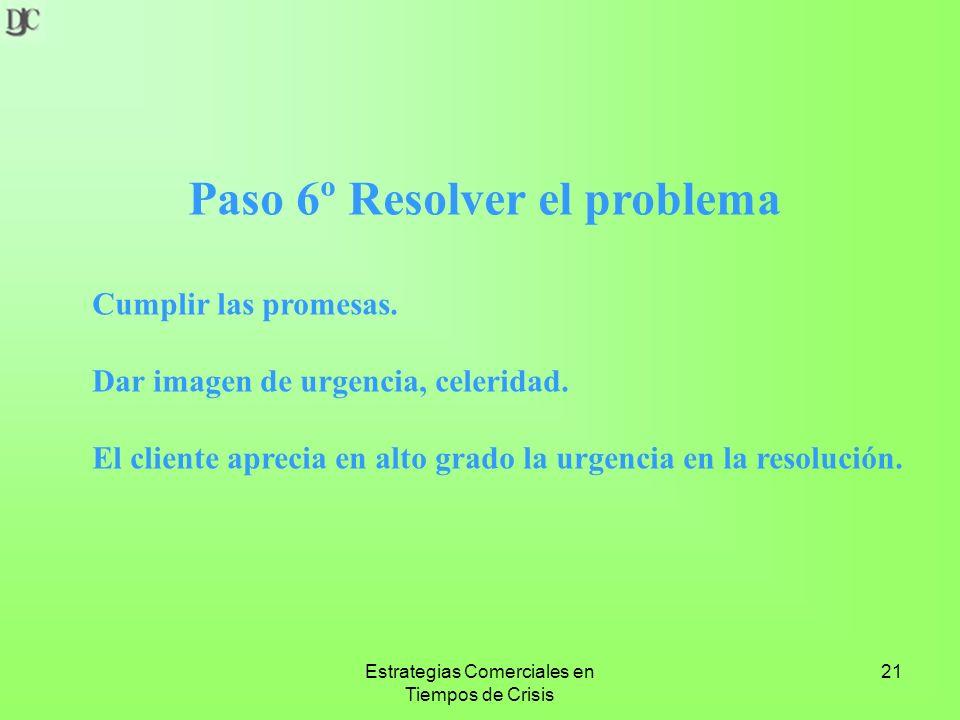 Estrategias Comerciales en Tiempos de Crisis 21 Paso 6º Resolver el problema Cumplir las promesas.