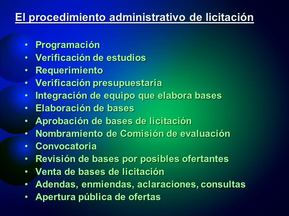 El procedimiento administrativo de licitación Verificación presupuestariaVerificación presupuestaria Aprobación de bases de licitación (Arts.