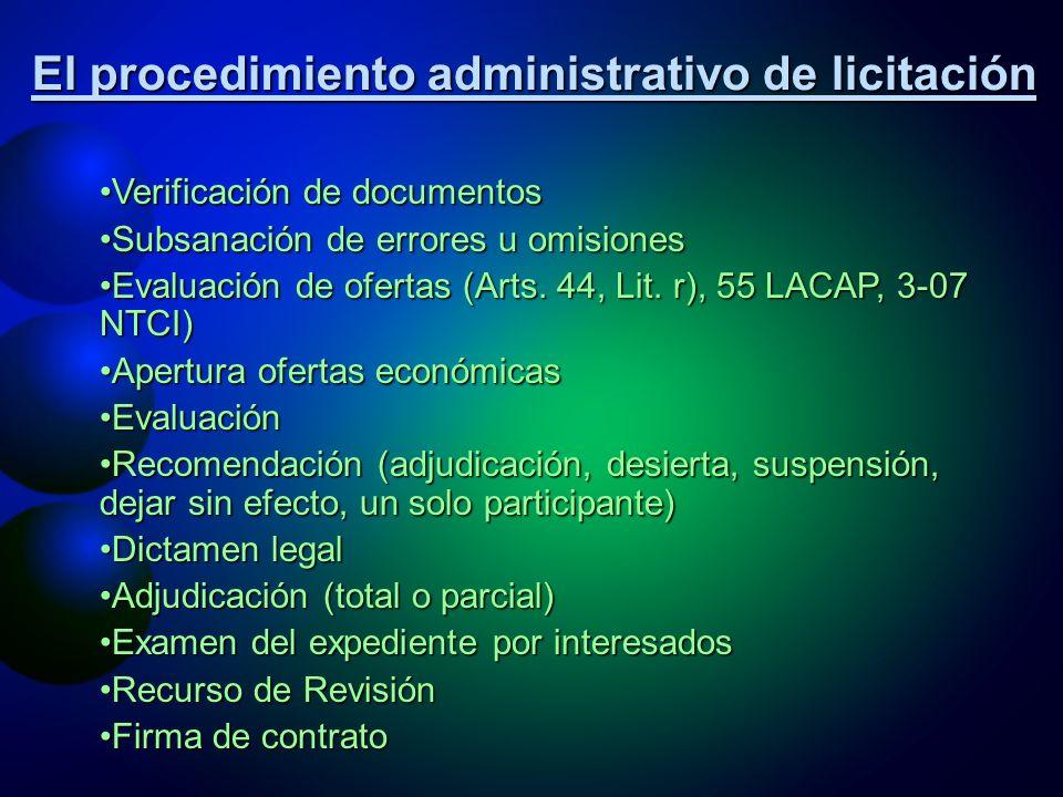 El procedimiento administrativo de licitación ProgramaciónProgramación Verificación de estudiosVerificación de estudios RequerimientoRequerimiento Verificación presupuestariaVerificación presupuestaria Integración de equipo que elabora basesIntegración de equipo que elabora bases Elaboración de basesElaboración de bases Aprobación de bases de licitaciónAprobación de bases de licitación Nombramiento de Comisión de evaluaciónNombramiento de Comisión de evaluación ConvocatoriaConvocatoria Revisión de bases por posibles ofertantesRevisión de bases por posibles ofertantes Venta de bases de licitaciónVenta de bases de licitación Adendas, enmiendas, aclaraciones, consultasAdendas, enmiendas, aclaraciones, consultas Apertura pública de ofertasApertura pública de ofertas