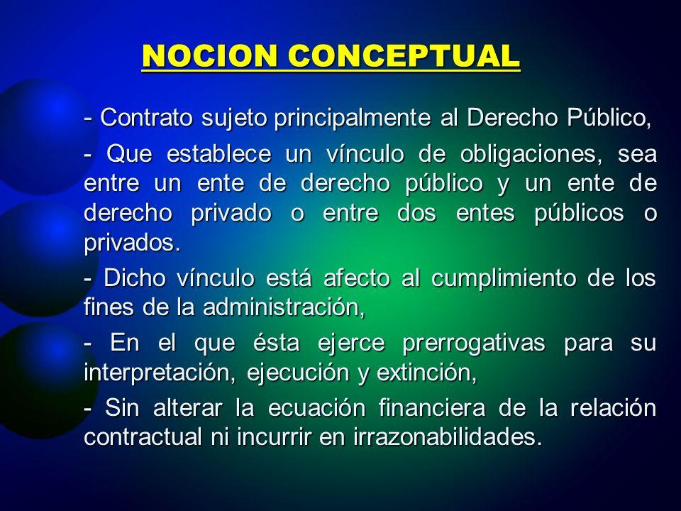 NOCION CONCEPTUAL - Contrato sujeto principalmente al Derecho Público, - Que establece un vínculo de obligaciones, sea entre un ente de derecho público y un ente de derecho privado o entre dos entes públicos o privados.