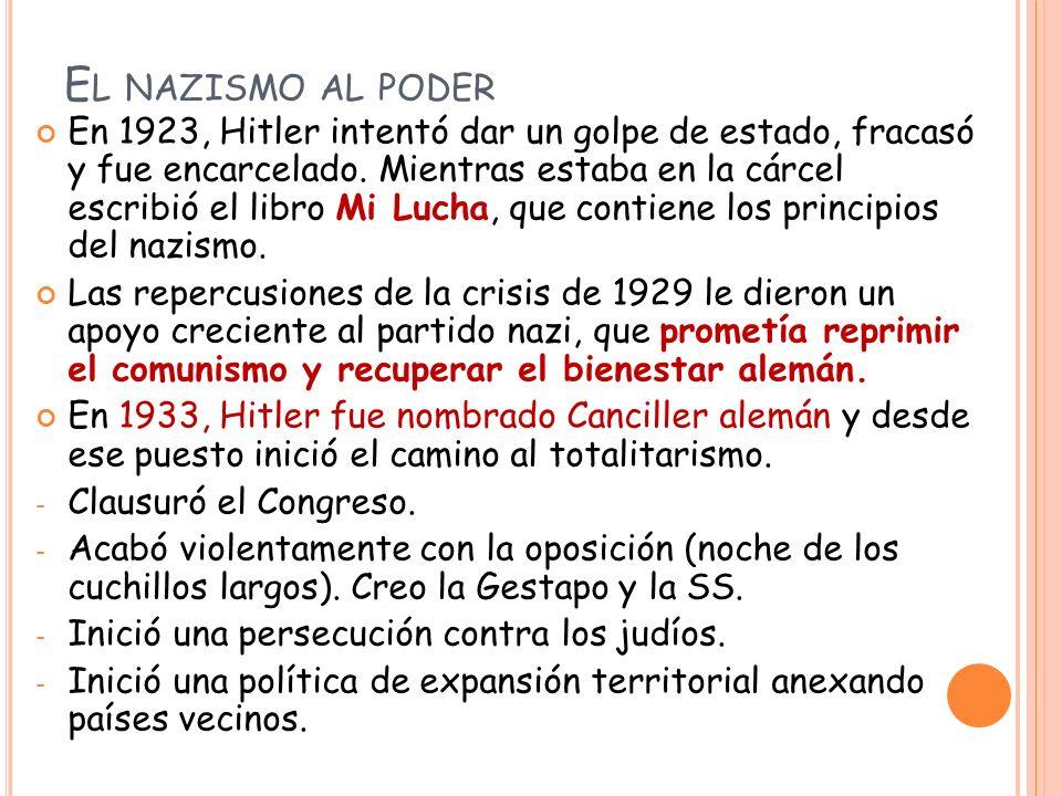 E L NAZISMO AL PODER En 1923, Hitler intentó dar un golpe de estado, fracasó y fue encarcelado.
