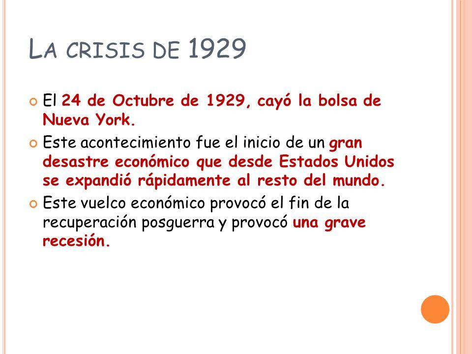 L A CRISIS DE 1929 El 24 de Octubre de 1929, cayó la bolsa de Nueva York.