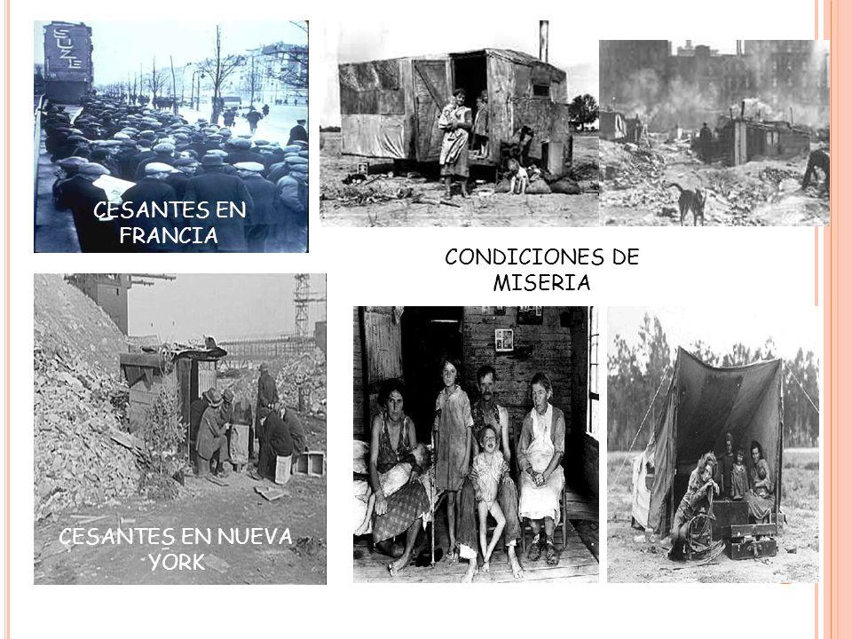 CESANTES EN FRANCIA CONDICIONES DE MISERIA CESANTES EN NUEVA YORK