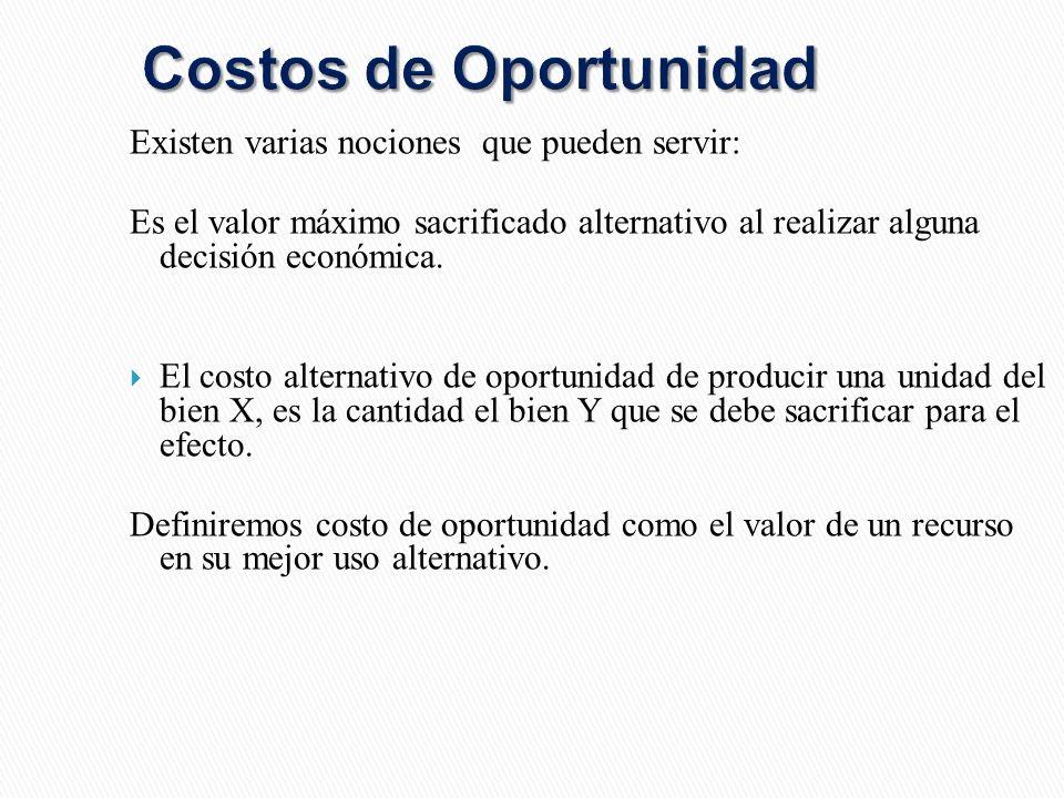 Costos de Oportunidad Existen varias nociones que pueden servir: Es el valor máximo sacrificado alternativo al realizar alguna decisión económica.