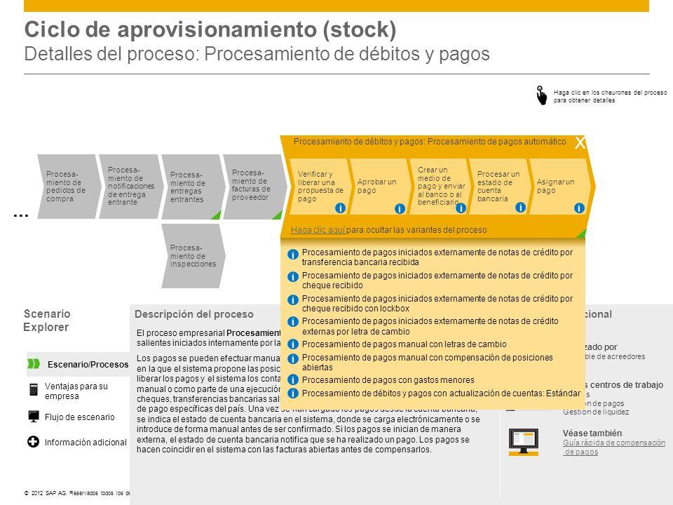 ©© 2012 SAP AG. Reservados todos los derechos. Ciclo de aprovisionamiento (stock) Detalles del proceso: Procesamiento de débitos y pagos Scenario Expl