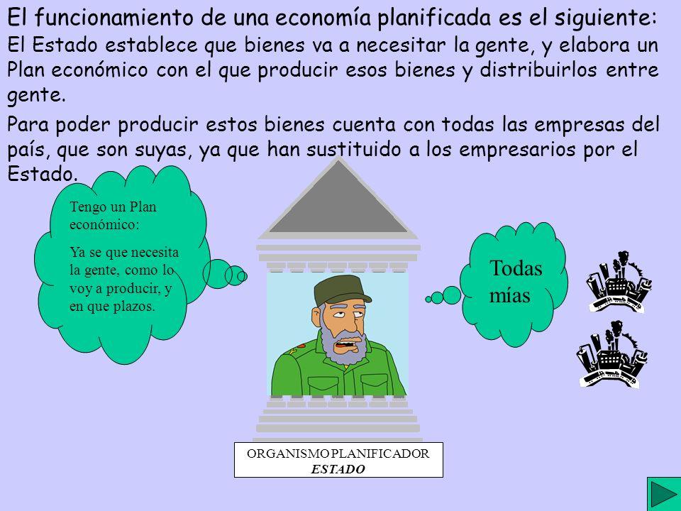 ORGANISMO PLANIFICADOR ESTADO El funcionamiento de una economía planificada es el siguiente: El Estado establece que bienes va a necesitar la gente, y elabora un Plan económico con el que producir esos bienes y distribuirlos entre gente.