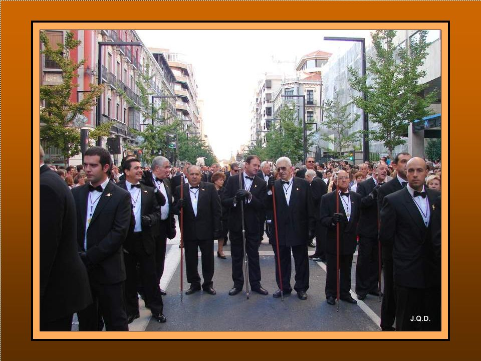 El Palio de la Virgen es llevado por el Cuerpo de Hermanos Palieros Van acompañados de su Junta Directiva seguida del Cuerpo de Hermanos Oficiales de la Santísima Virgen.