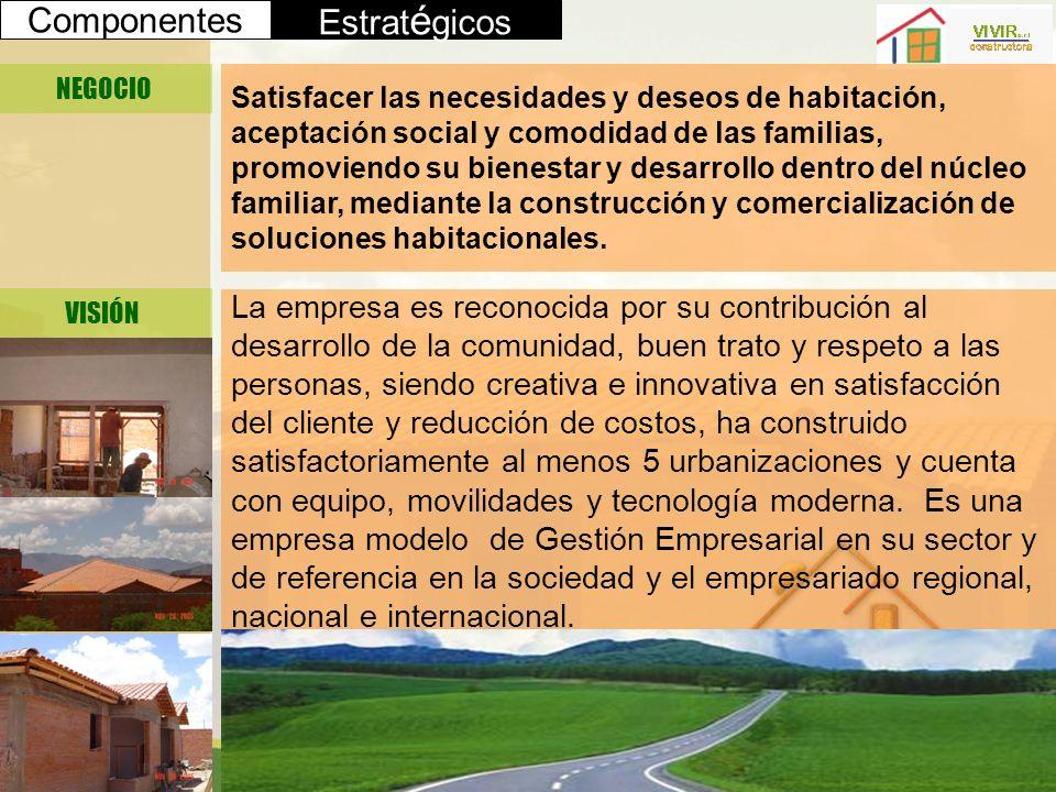 Componentes Estrat é gicos NEGOCIO VISIÓN Satisfacer las necesidades y deseos de habitación, aceptación social y comodidad de las familias, promoviend