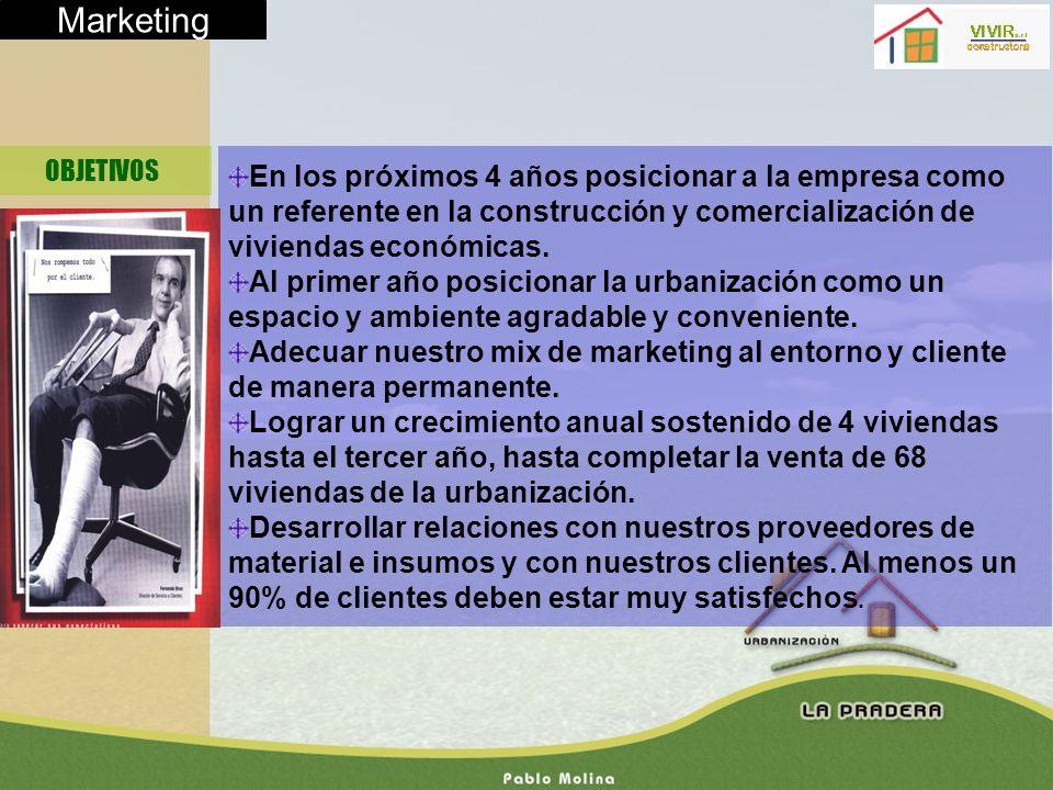 Marketing OBJETIVOS En los próximos 4 años posicionar a la empresa como un referente en la construcción y comercialización de viviendas económicas. Al