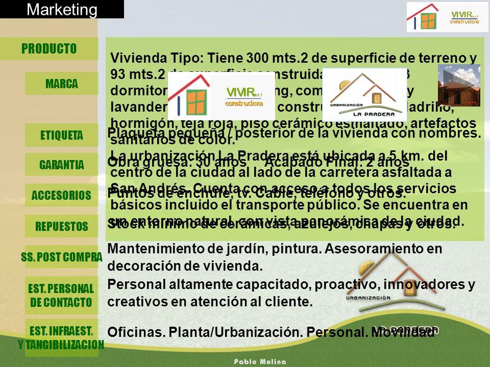Marketing PRODUCTO Vivienda Tipo: Tiene 300 mts.2 de superficie de terreno y 93 mts.2 de superficie construida. Consta de 3 dormitorios, 2 baños, livi