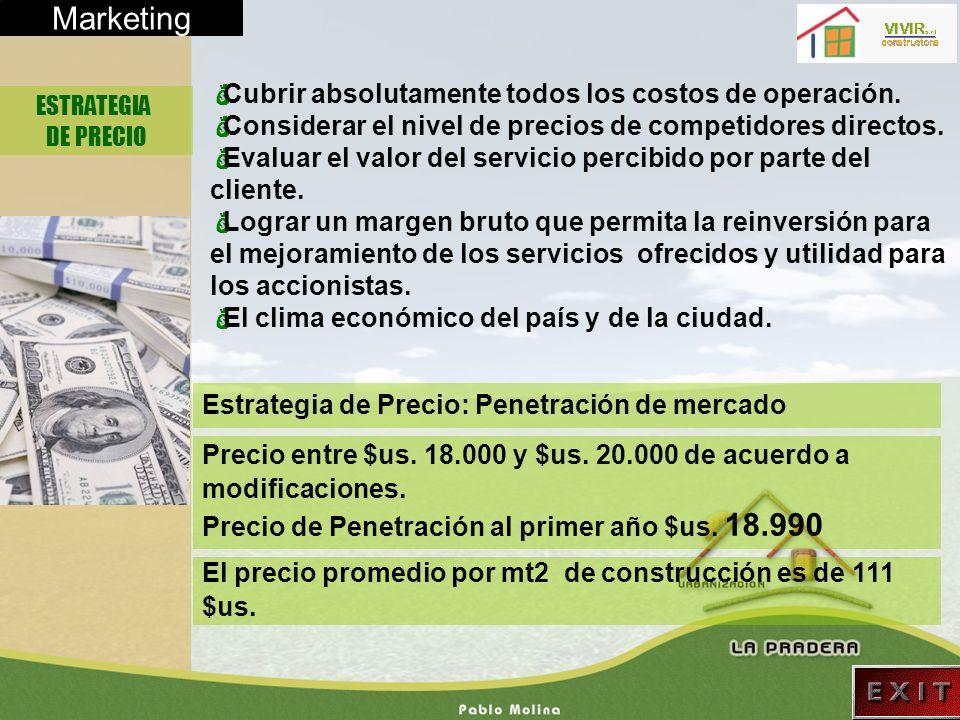 Marketing ESTRATEGIA DE PRECIO Cubrir absolutamente todos los costos de operación. Considerar el nivel de precios de competidores directos. Evaluar el