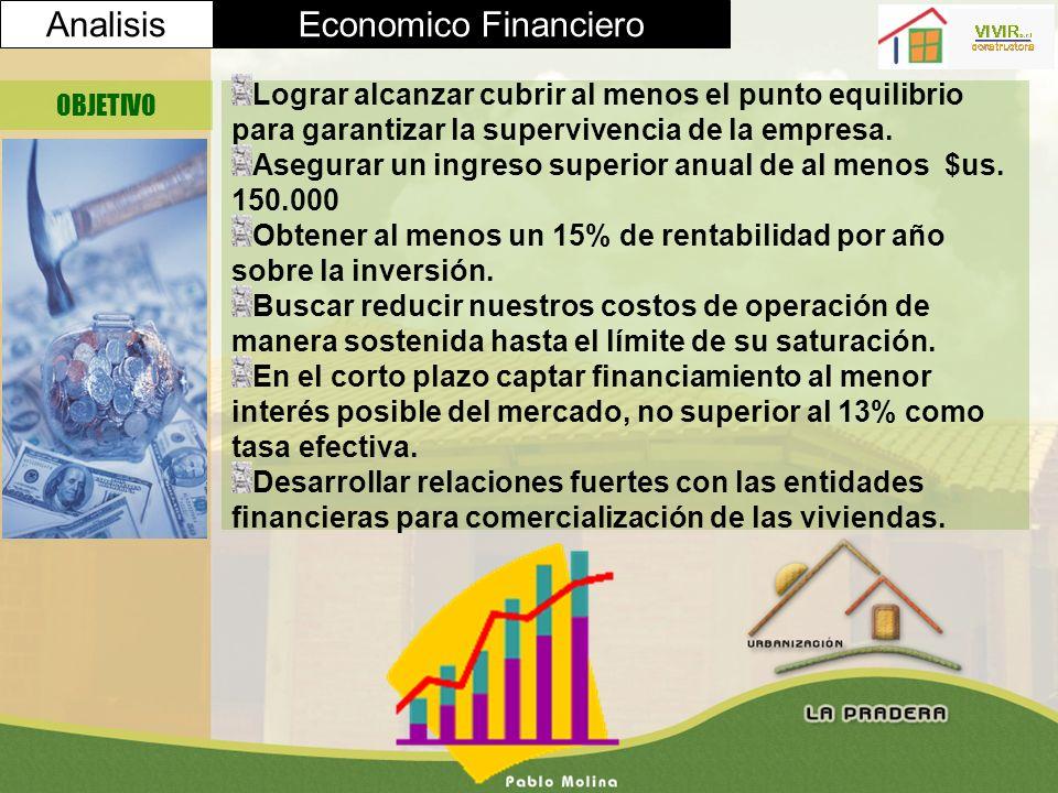 AnalisisEconomico Financiero OBJETIVO Lograr alcanzar cubrir al menos el punto equilibrio para garantizar la supervivencia de la empresa. Asegurar un