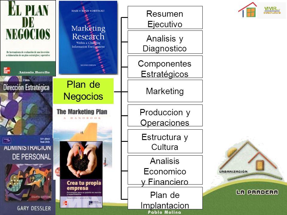 Plan de Negocios Resumen Ejecutivo Analisis y Diagnostico Produccion y Operaciones Estructura y Cultura Analisis Economico y Financiero Componentes Es