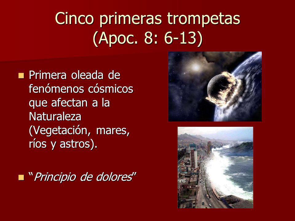 Cinco primeras trompetas (Apoc. 8: 6-13) Primera oleada de fenómenos cósmicos que afectan a la Naturaleza (Vegetación, mares, ríos y astros). Primera