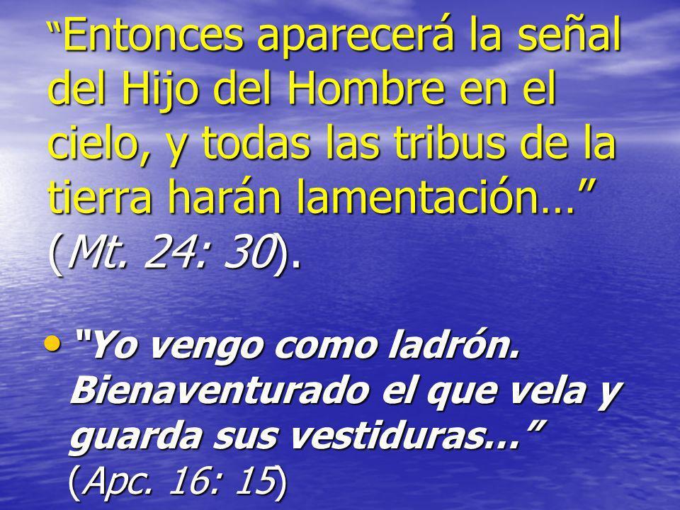 Entonces aparecerá la señal del Hijo del Hombre en el cielo, y todas las tribus de la tierra harán lamentación… (Mt. 24: 30). Entonces aparecerá la se
