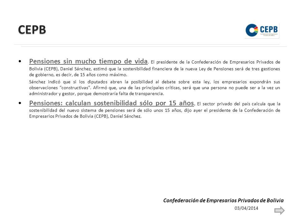 CEPB Pensiones sin mucho tiempo de vida.