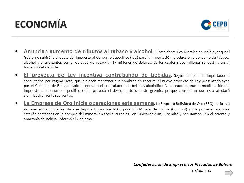 ECONOMÍA Anuncian aumento de tributos al tabaco y alcohol.