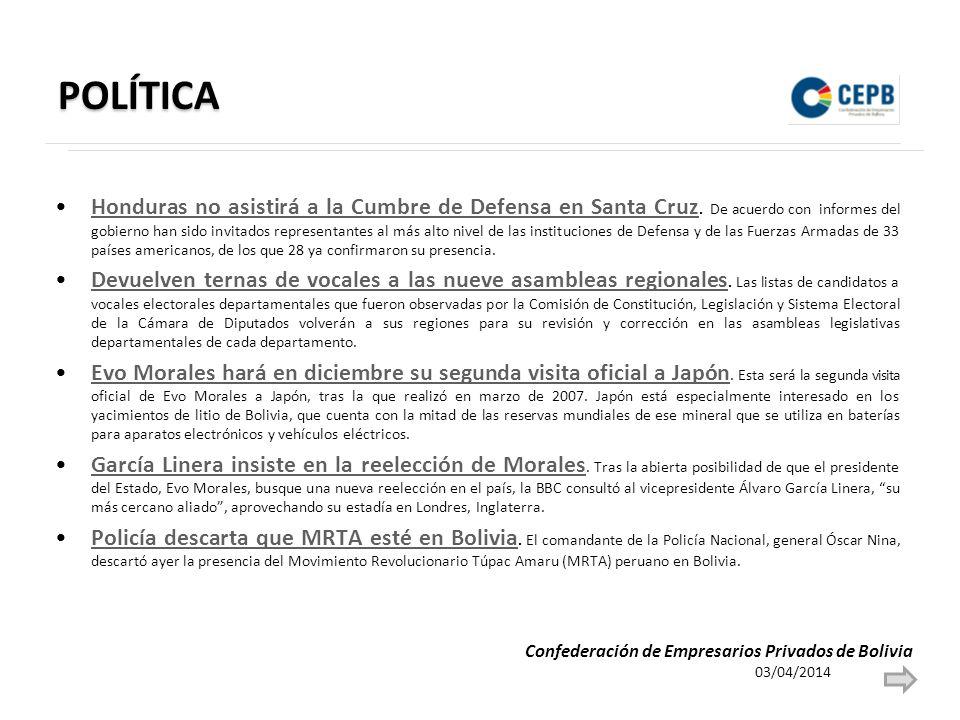 POLÍTICA Honduras no asistirá a la Cumbre de Defensa en Santa Cruz.