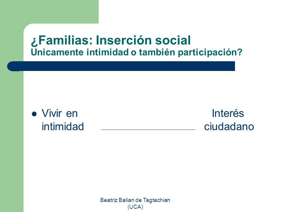 Beatriz Balian de Tagtachian (UCA) ¿Familias: Inserción social Unicamente intimidad o también participación? Vivir en Interés intimidad ciudadano