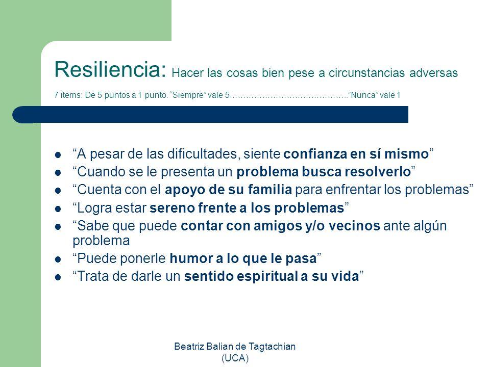 Beatriz Balian de Tagtachian (UCA) Resiliencia: Hacer las cosas bien pese a circunstancias adversas 7 items: De 5 puntos a 1 punto. Siempre vale 5…………