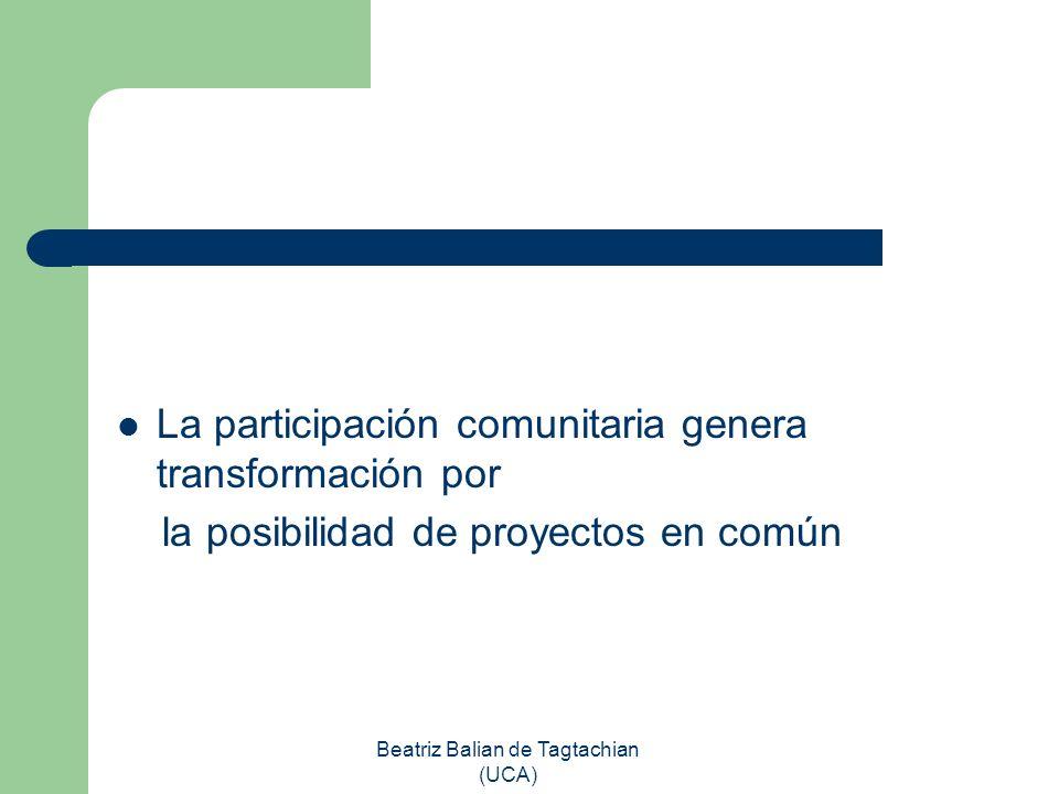 Beatriz Balian de Tagtachian (UCA) La participación comunitaria genera transformación por la posibilidad de proyectos en común