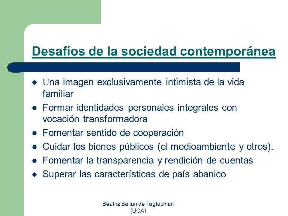 Beatriz Balian de Tagtachian (UCA) Desafíos de la sociedad contemporánea U na imagen exclusivamente intimista de la vida familiar Formar identidades p