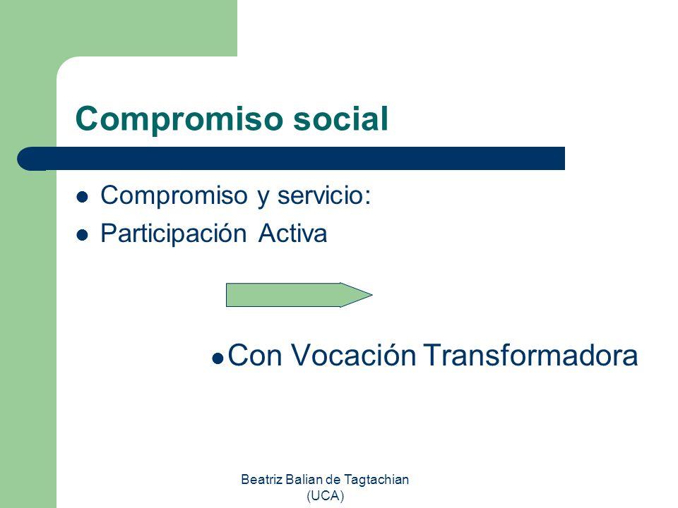 Beatriz Balian de Tagtachian (UCA) Compromiso social Compromiso y servicio: Participación Activa Con Vocación Transformadora