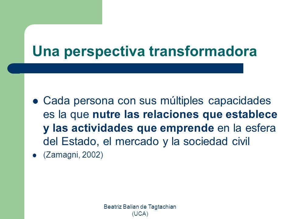 Beatriz Balian de Tagtachian (UCA) Una perspectiva transformadora Cada persona con sus múltiples capacidades es la que nutre las relaciones que establ