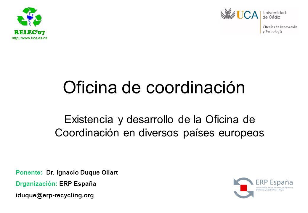 RELEC07 http://www.uca.es/cit Ponente: Dr. Ignacio Duque Oliart Drganización: ERP España iduque@erp-recycling.org Oficina de coordinación Existencia y