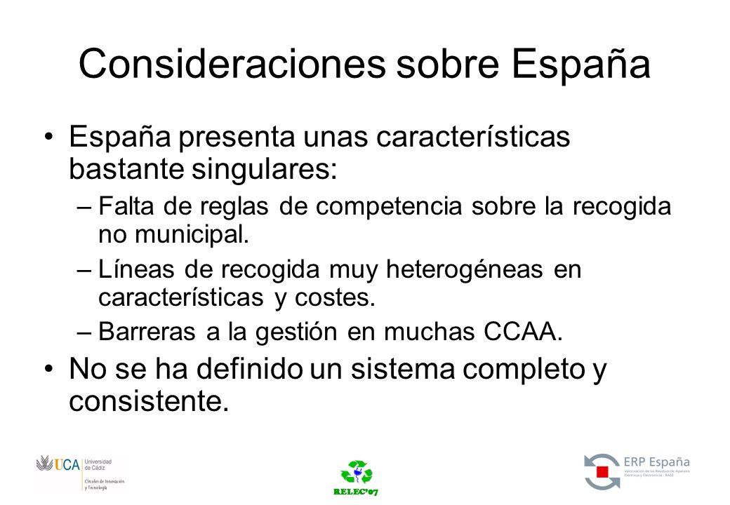 RELEC07 Consideraciones sobre España España presenta unas características bastante singulares: –Falta de reglas de competencia sobre la recogida no municipal.
