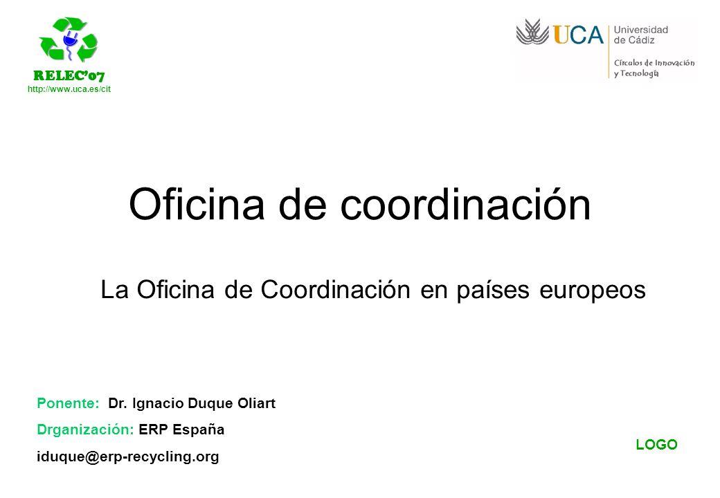 http://www.uca.es/cit LOGO Ponente: Dr. Ignacio Duque Oliart Drganización: ERP España iduque@erp-recycling.org Oficina de coordinación La Oficina de C