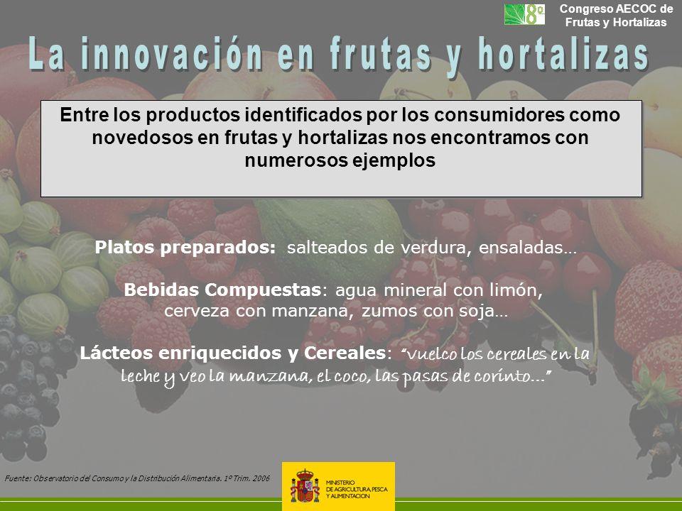 Congreso AECOC de Frutas y Hortalizas Entre los productos identificados por los consumidores como novedosos en frutas y hortalizas nos encontramos con