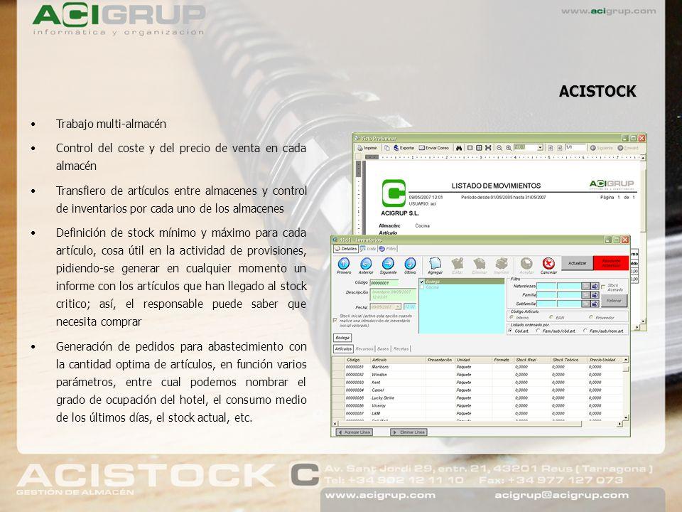 ACISTOCK dispone de una serie de informes de almacén, como: Stock teórico (críptico) Precios comparativos entre proveedores Alertas de stock Informe de movimientos Informe de consumos Centralizador de facturacion Informe de inventarios Informe de pedidos ACISTOCK