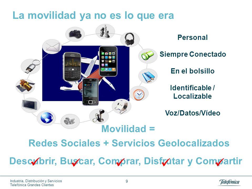 Industria, Distribución y Servicios Telefónica Grandes Clientes 9 La movilidad ya no es lo que era Personal Siempre Conectado En el bolsillo Identific