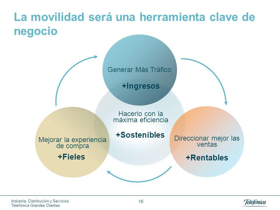 Industria, Distribución y Servicios Telefónica Grandes Clientes 16 Hacerlo con la máxima eficiencia +Sostenibles La movilidad será una herramienta cla