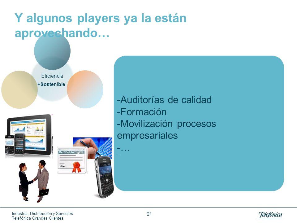 Industria, Distribución y Servicios Telefónica Grandes Clientes 21 -Auditorías de calidad -Formación -Movilización procesos empresariales -… +Sostenib