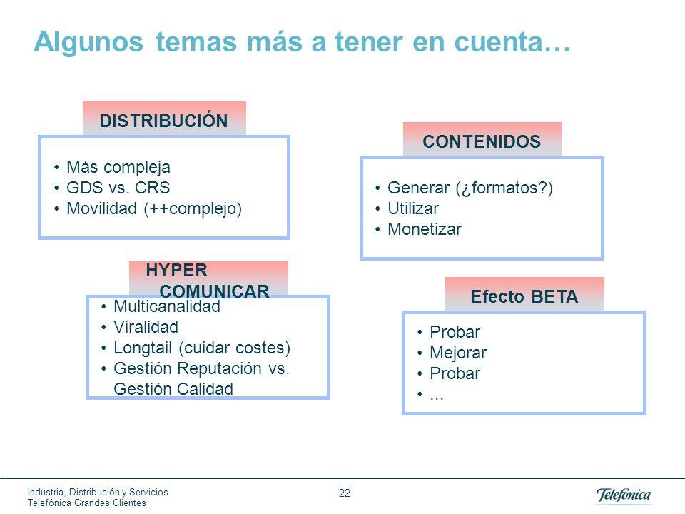 Industria, Distribución y Servicios Telefónica Grandes Clientes 22 Algunos temas más a tener en cuenta… Más compleja GDS vs. CRS Movilidad (++complejo