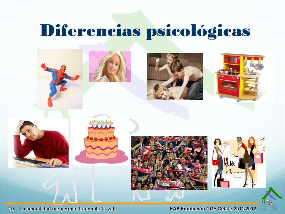 10 EAS Fundación COF Getafe 2011-2012 La sexualidad me permite transmitir la vida Diferencias psicológicas