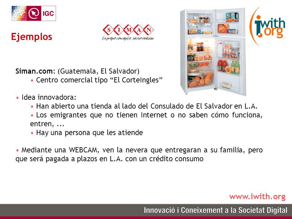 www.iwith.org Siman.com: (Guatemala, El Salvador) Centro comercial tipo El CorteIngles Idea innovadora: Han abierto una tienda al lado del Consulado de El Salvador en L.A.