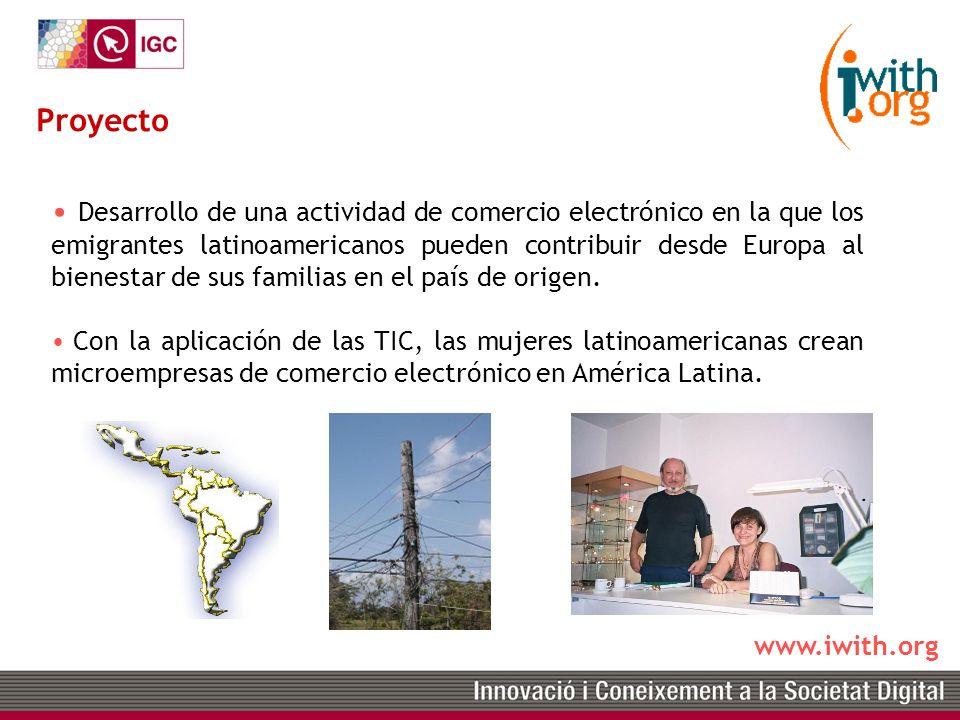 www.iwith.org Desarrollo de una actividad de comercio electrónico en la que los emigrantes latinoamericanos pueden contribuir desde Europa al bienestar de sus familias en el país de origen.