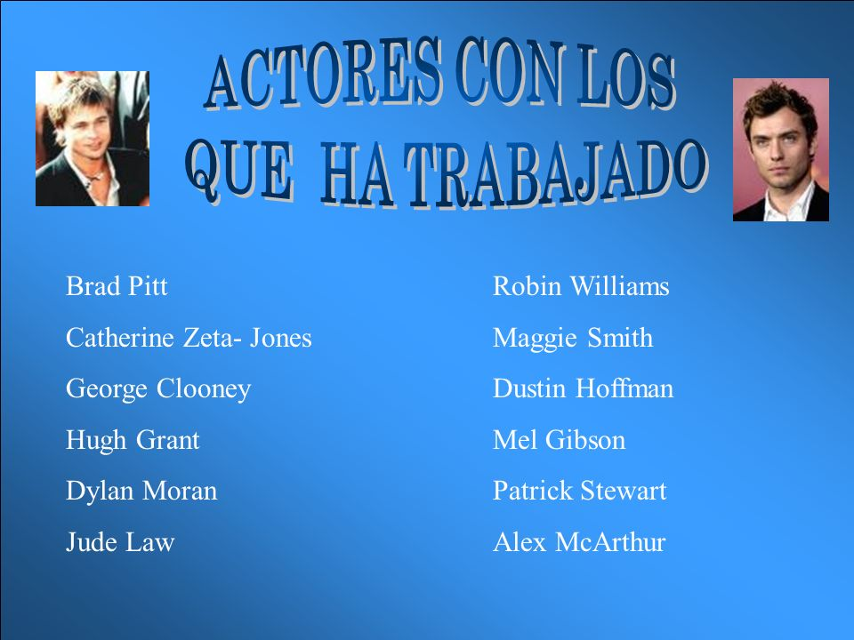 Brad PittRobin Williams Catherine Zeta- JonesMaggie Smith George ClooneyDustin Hoffman Hugh GrantMel Gibson Dylan MoranPatrick Stewart Jude LawAlex McArthur