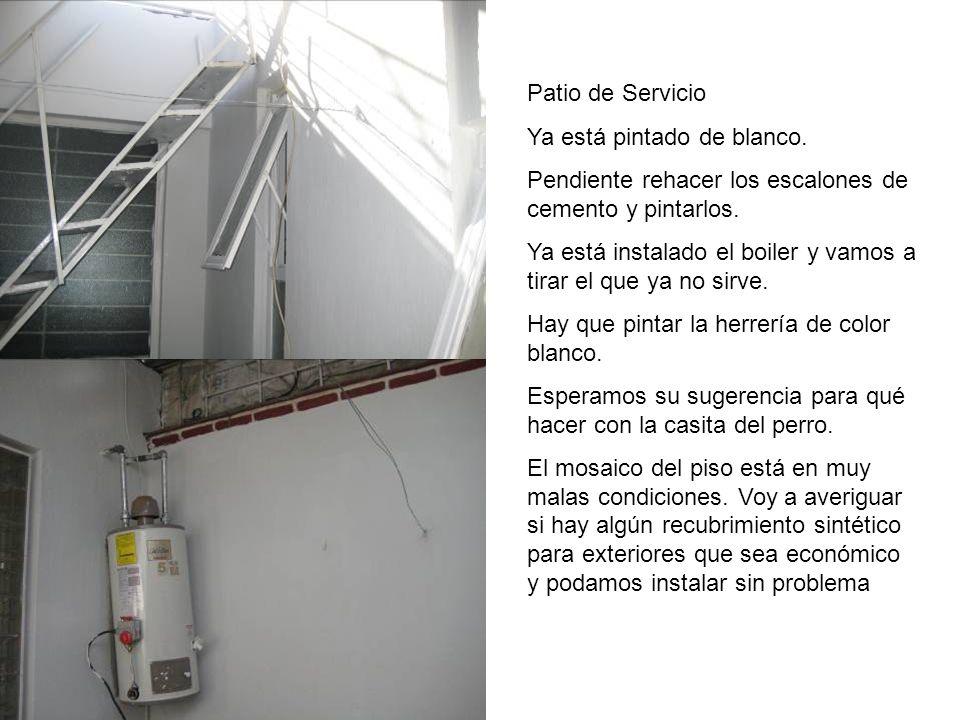 Patio de Servicio Ya está pintado de blanco. Pendiente rehacer los escalones de cemento y pintarlos. Ya está instalado el boiler y vamos a tirar el qu