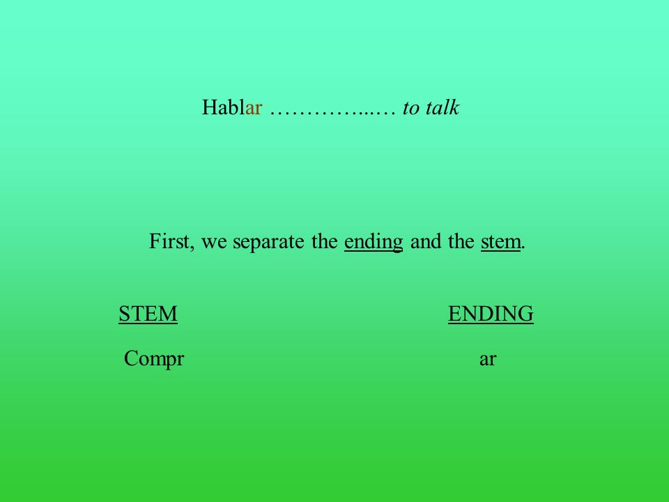 Hablar…………...…to talk First, we separate the ending and the stem. STEMENDING Comprar