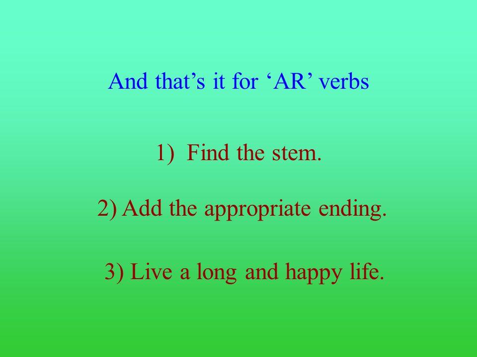 Lets try another verb. Yo Tú Él Ella Usted Nosotros Nosotras Ellos Ellas Ustedes Grito Gritas Grita Gritamos Gritan 1) Find the stem 2) Add the ending