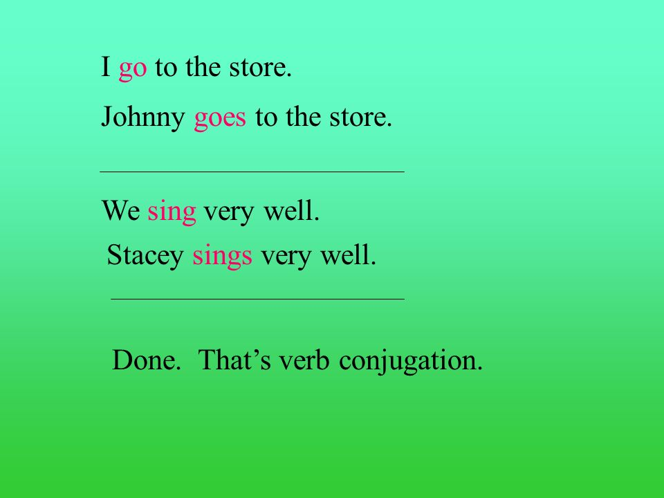 I go to the store.Johnny goes to the store. We sing very well.