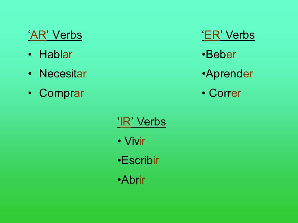 AR Verbs Hablar Necesitar Comprar ER Verbs Beber Aprender Correr IR Verbs Vivir Escribir Abrir