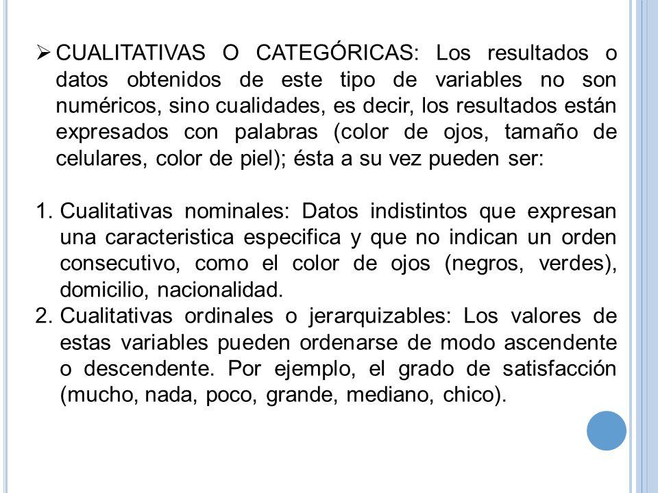 CUALITATIVAS O CATEGÓRICAS: Los resultados o datos obtenidos de este tipo de variables no son numéricos, sino cualidades, es decir, los resultados est