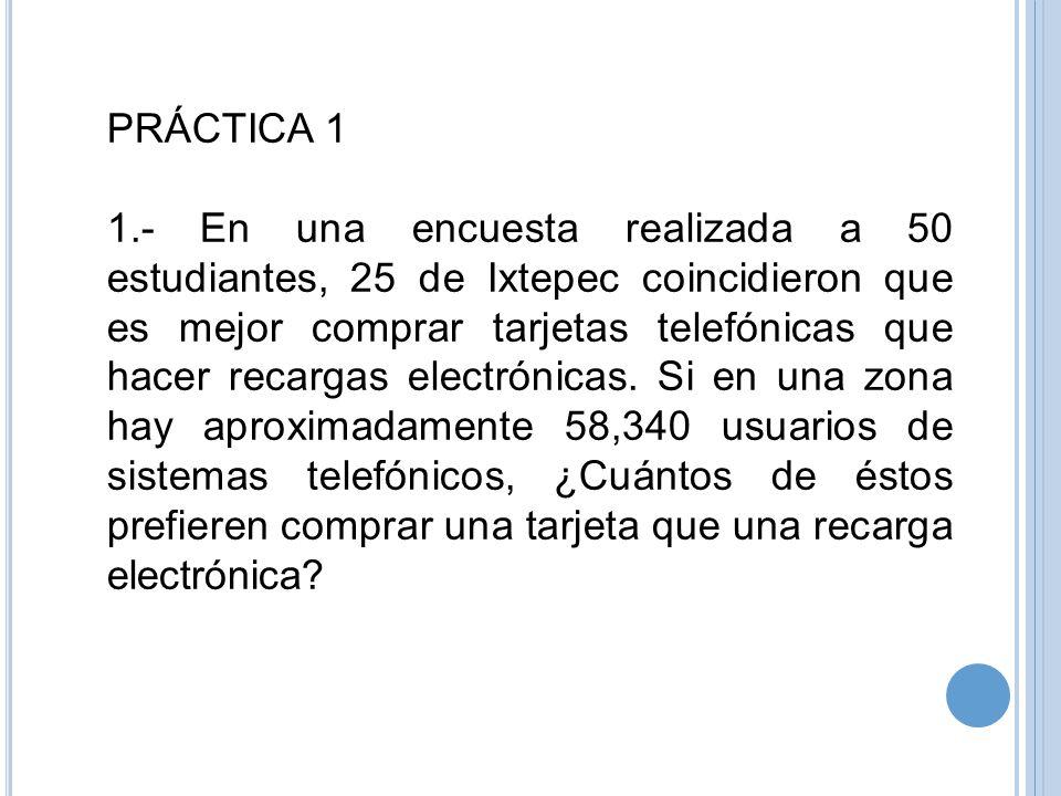 PRÁCTICA 1 1.- En una encuesta realizada a 50 estudiantes, 25 de Ixtepec coincidieron que es mejor comprar tarjetas telefónicas que hacer recargas ele