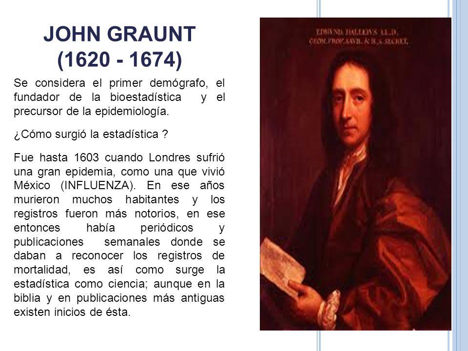 JOHN GRAUNT (1620 - 1674) Se considera el primer demógrafo, el fundador de la bioestadística y el precursor de la epidemiología. ¿Cómo surgió la estad